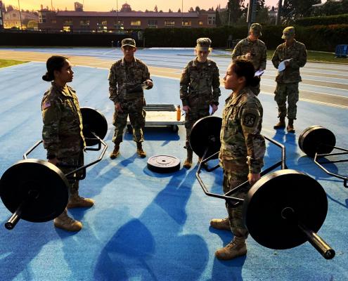 students lifting